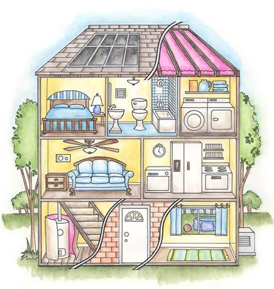 Le stanze della casa in inglese by morgan school for Calcolatore del materiale da costruzione della casa